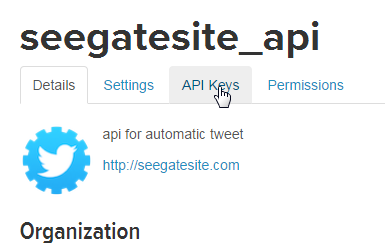 click api key tabs - create your own twitter bot