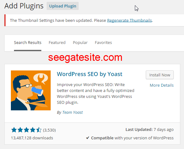 installation yoast plugin