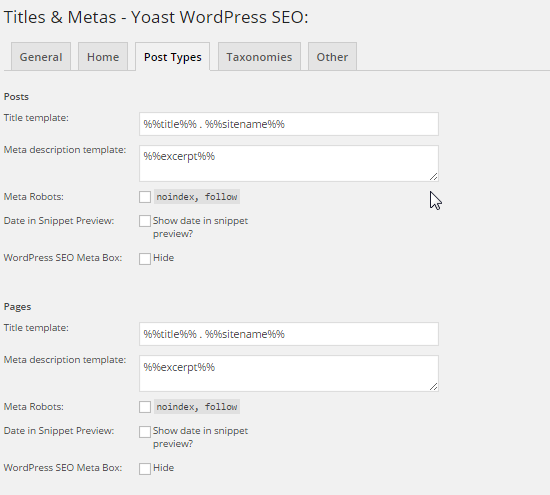 yoast settings guide titles and metas - post type