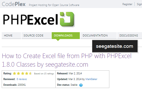 How to writing Excel file from PHP with PHPExcel 1.8.0 Classes