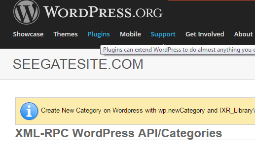 How to create New Category on Wordpress with wp.newCategory and IXR Library