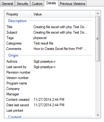 writing detail file excel with phpexcel in php