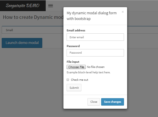 Create Dynamic Modal Dialog Form in AdminLTE Bootstrap template