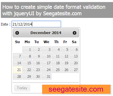 create date format validation with jqueryui
