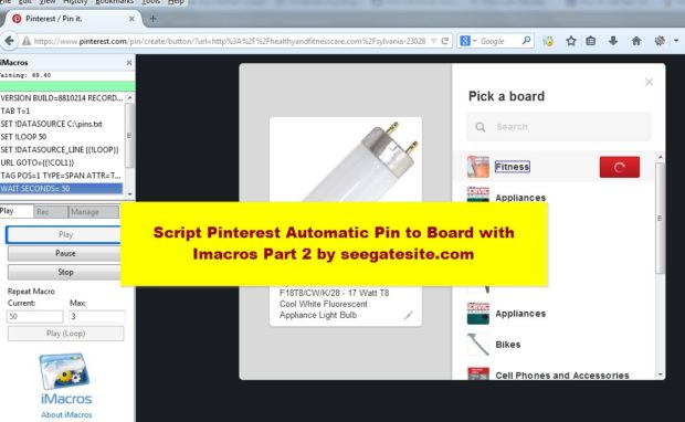 Script Pinterest Automatic Pin to Board with Imacros Part 2