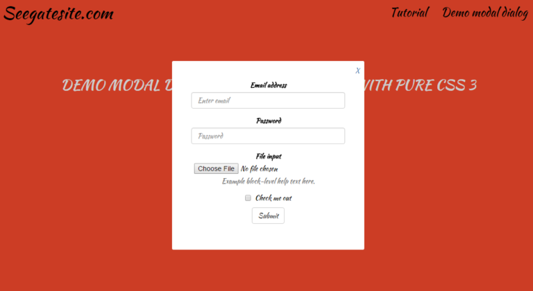 create modal dialog form bootstrap with css 3 without javascript or jquery