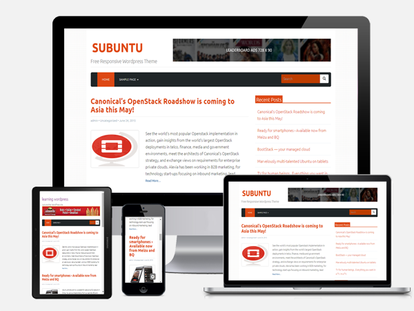 subuntu free responsive wordpress theme