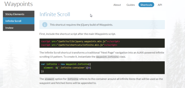 IWaypoints Is Free Infinite Jquery Plugin