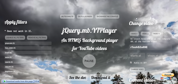 Mb.YTPlayer Is Free Jquery Plugin To Show Youtube Video As Background