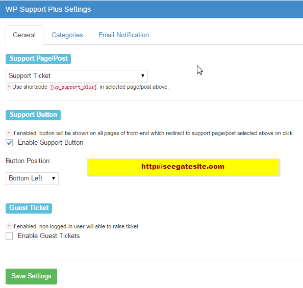 Wordpress Support Ticket Plugin With General Settings