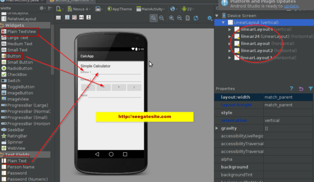 Create Edittext Textview Button Learning Android Create Simple Calculator Applications For Beginners