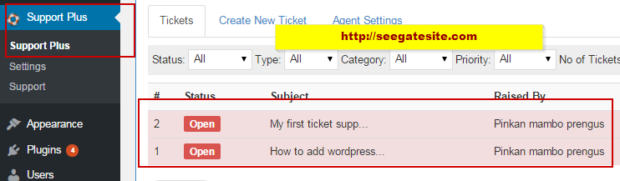 Support Plus Admin Menu WP Support Plus Responsive Ticket System Plugin