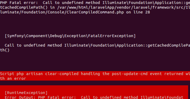 Error Call To Undefined Method Illuminate Foundation Application GetCachedCompilePath Error Install Laravel 5