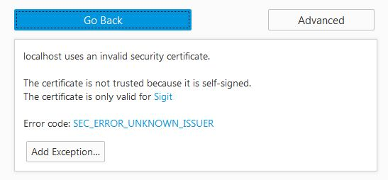 Insecure Connection Add Certificate Browser