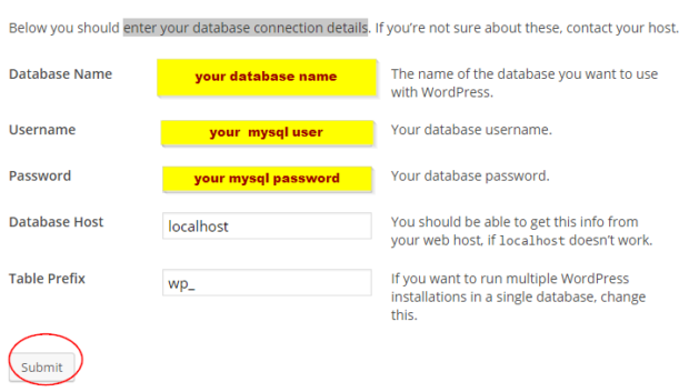 Enter Your Database Connection Details