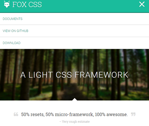 FOX CSS Responsive CSS Framework Besides Bootstrap With Mini Size