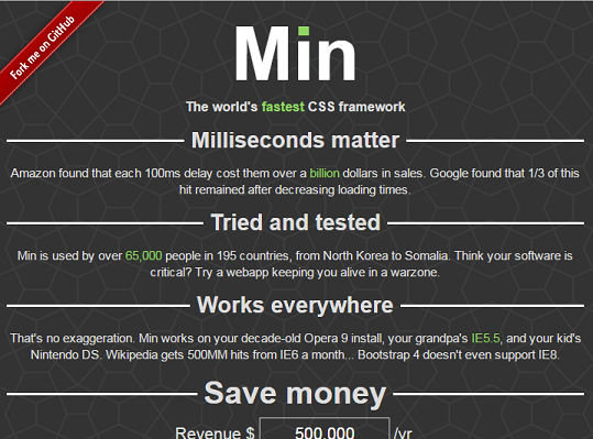 MIN Responsive CSS Framework Besides Bootstrap With Mini Size