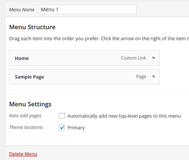 Create WordPress Menu And Locate To Primary