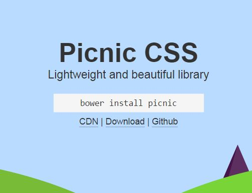Picnic Css Responsive CSS Framework Besides Bootstrap With Mini Size