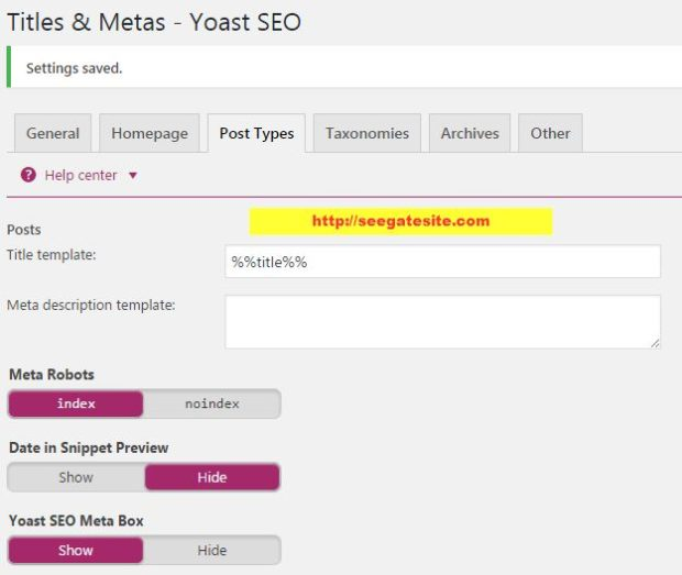 Titles & Metas POST Types Settings Setting New SEO By Yoast Plugin