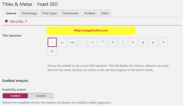 Titles and Metas Yoast SEO General Settings by seegatesite