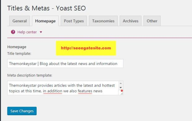 Titles & Metas Homepage Setting Setting SEO By Yoast Plugin