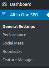 All In One Seo Pack WordPress Menu Location