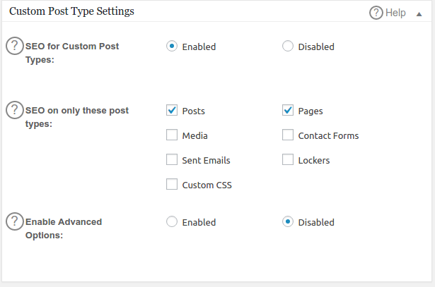Custom Post Type Settings All In On Seo Pack WordPress Plugin