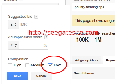 Google Keyword Planning Setting Low Competitors