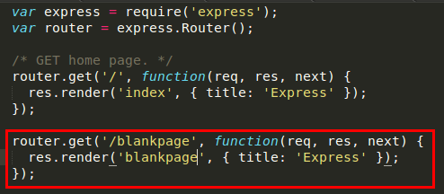 Create Routes For Blankpage In Index Js In The Routes Folder