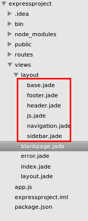 Folder Layout In The Views Folder And Create 5 New Jade File
