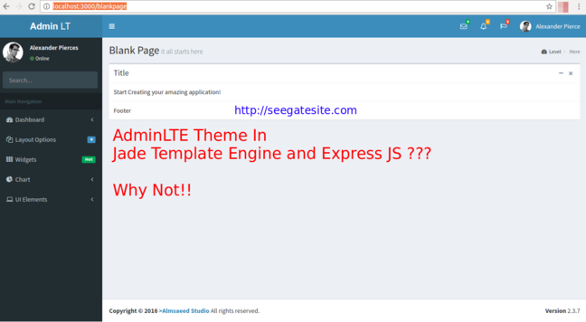 How To Transfer AdminLTE To Jade Template Engine In Express js