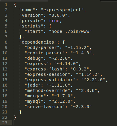 Package Json Create Simple Crud Node Js Express Mysql And Adminlte