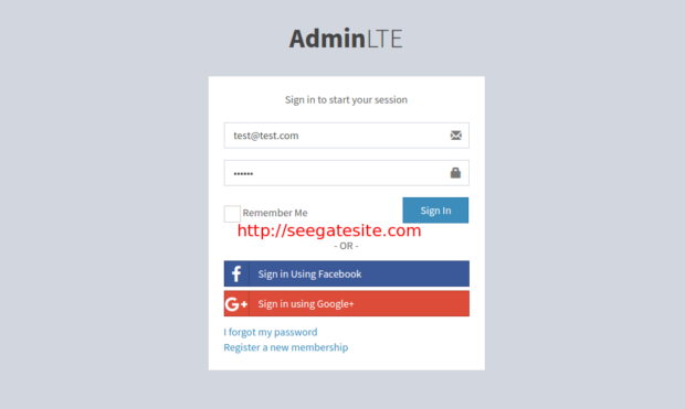 Login Page Adminlte With Node Js Express Mysql Dan Jade Templating
