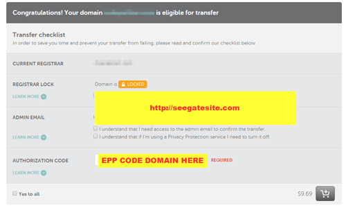 Transfer Domain Transaction In Namecheap