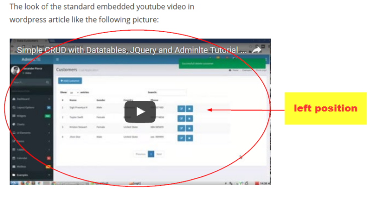 How To Centering And Make Full Width Youtube Iframe On Blog Article