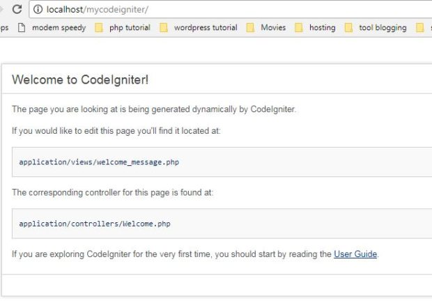 PHP Codeigniter Tutorial Installation Successfull