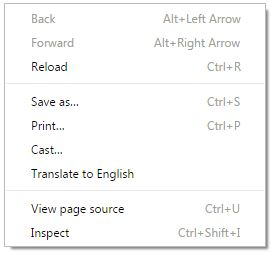 Context Menu Default Chrome Browser
