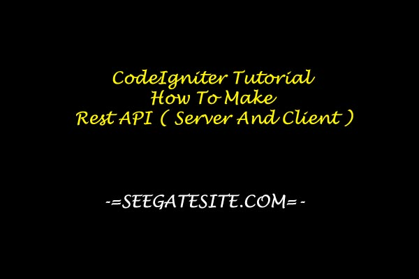 CodeIgniter Tutorial How To Make Rest API ( Server And Client )