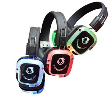 silent party headphones from silent disco