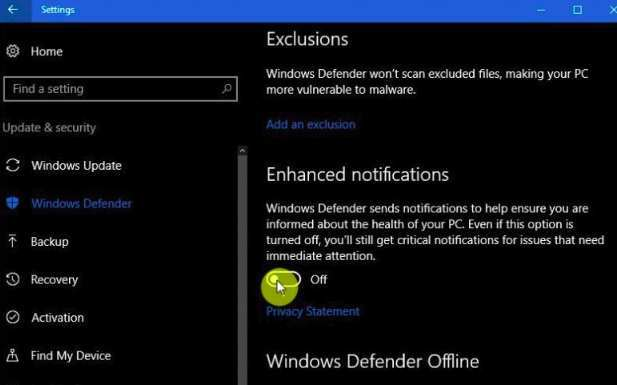Turn Of Notification Windows Defender On Windows 10 Min