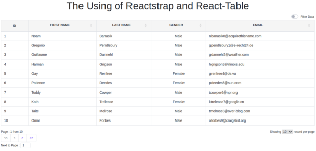 Implement Bootstrap In React Table In Reactjs